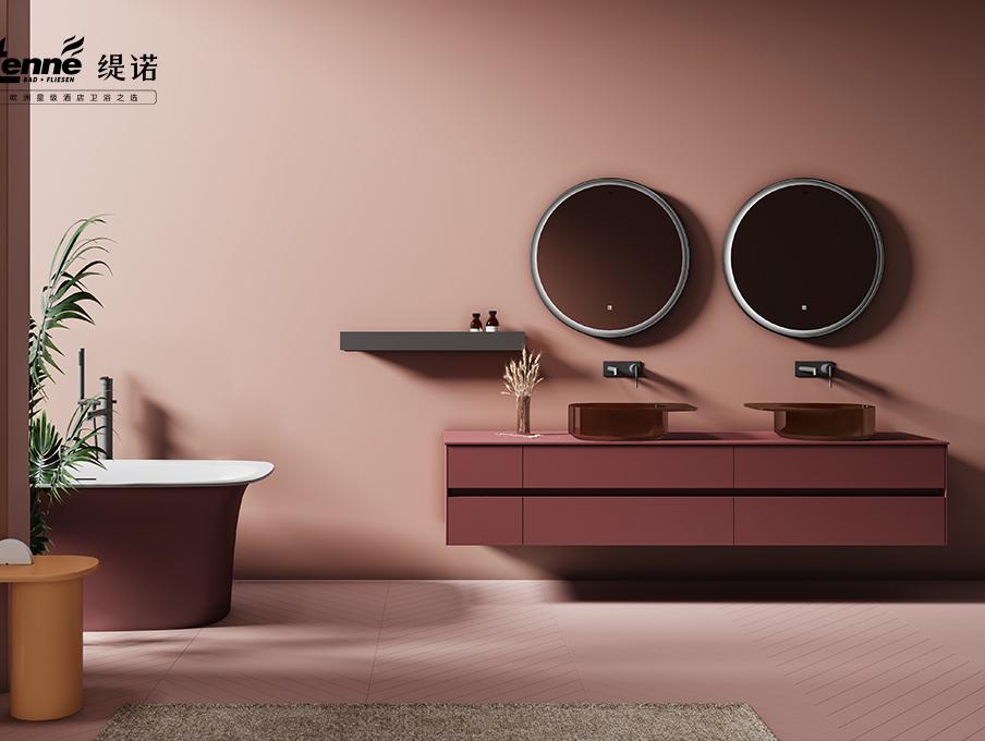 浴姐测评第二期|缇诺这款胭脂红浴室柜,让美沁入心扉